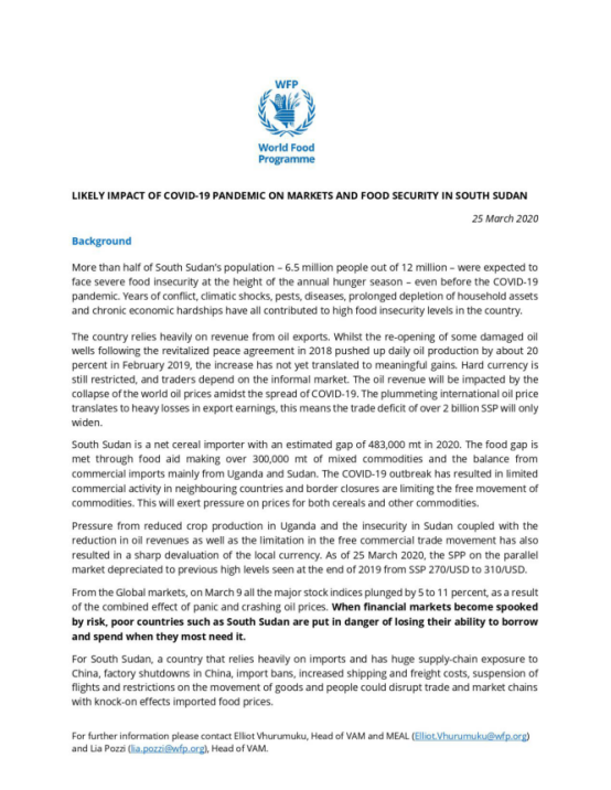 COVID19 outbreak likely impact on markets and food security in South Sudan (25 March 2020)